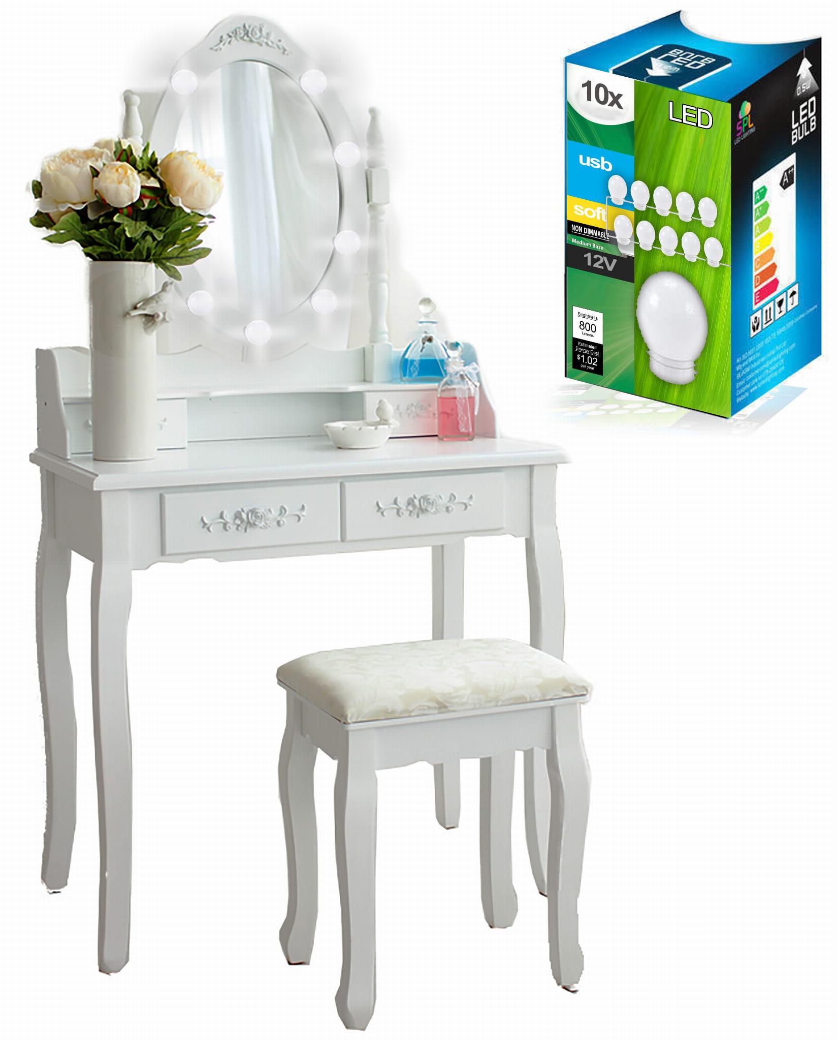 Toaletka Kosmetyczna Biała Taboret Oświetlenie Led