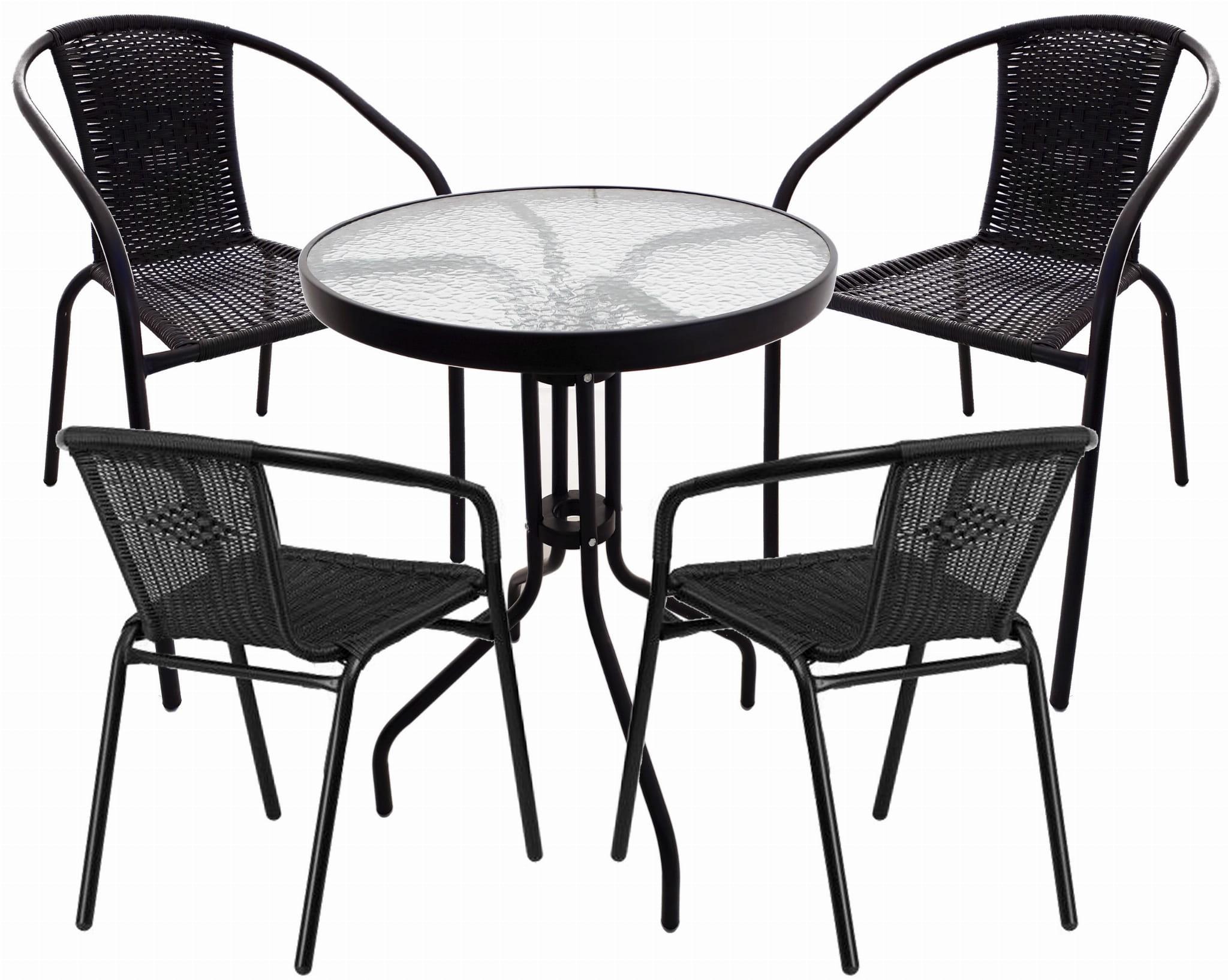 Komplet Ogrodowy Barowy Bistro Stolik 4 Krzesła